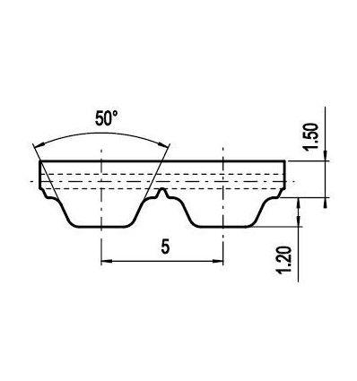 50 AT5 Lineár ozubený remeň s otv.koncom