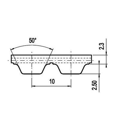 25 ATL10 Lineár ozubený remeň s otv.koncom